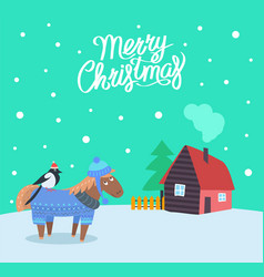 Merry christmas greeting poster with animal vector