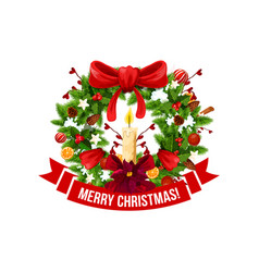 Merry christmas greeting wreath icon vector