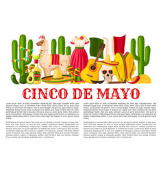 Mexican cinco de mayo holiday fiesta poster vector