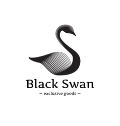 minimalistic swan logo Beautiful black ink vector image