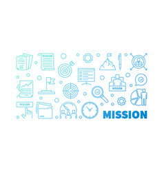 Mission blue concept in outine vector