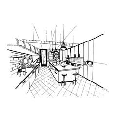 Modern kitchen interior in loft style hand drawn vector