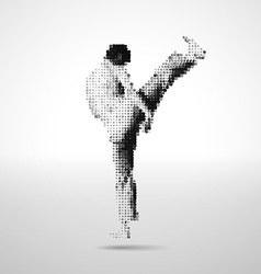 Mosaic sportsman made of cubes vector image