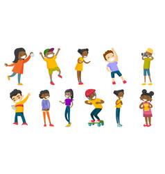 Multiracial children set vector