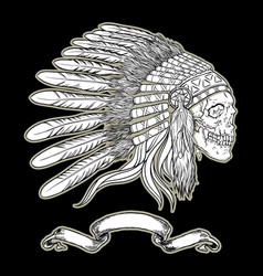 Native american indian chief headdress indian vector