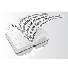 opened book with flying text vector image