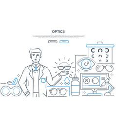 Optics - modern line design style web banner vector