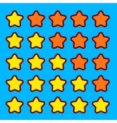 Orange game rating stars icons buttons interface vector