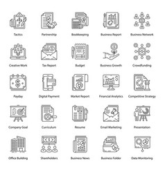 Pack business line icons vector
