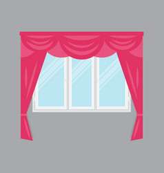 Plastic window with pink curtains isolated vector