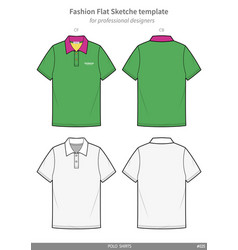 Polo shirts fashion flat technical drawing vector