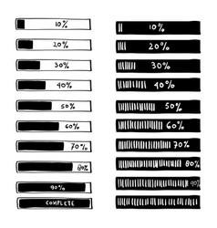 Progress loading bar set icons load symbol vector