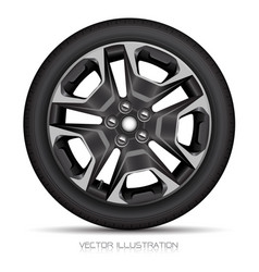 Realistic alloy wheel car tire style sport white vector