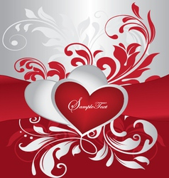 red and silver valentines day card vector image