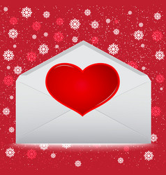 red heart on envelope with snow on red background vector image