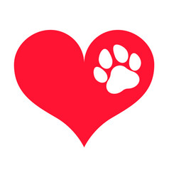 Red heart silhouette with a white paw print on it vector