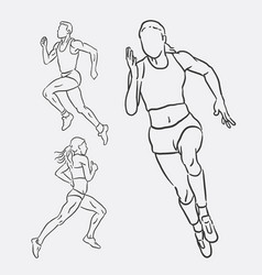 Running male and female sport hand drawing vector