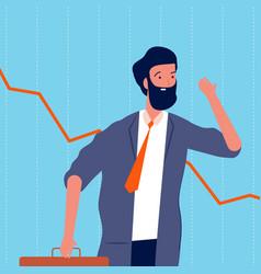 sad businessman bankrupt shares decline upset vector image