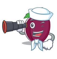 sailor with binocular plum mascot cartoon style vector image