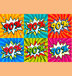 sale set sale ninty percent 90 off tags on a vector image