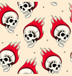 Seamless pattern with cartoon flaming skull vector