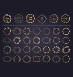 set golden floral silhouette circular vector image