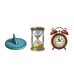 Set of different old clocks sundial hourglass vector