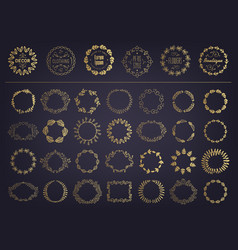 set of golden floral silhouette circular vector image