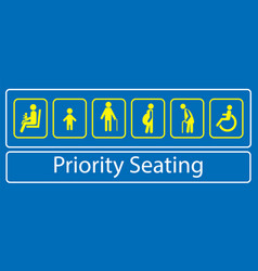 set of priority seating sticker or label vector image