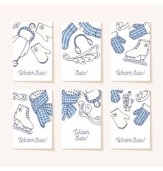 Set of sale tags Hand drawn winter knitted vector