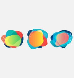 Set organic liquid flowing shapes colorful vector