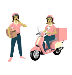 set women courier worker with her scooter vector image