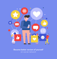 social media flat composition vector image