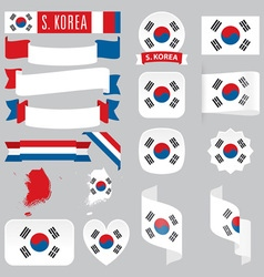 South Korea flags vector image