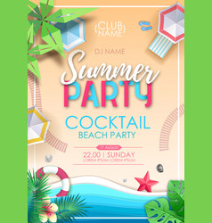 Summer cocktail beach party poster top view vector