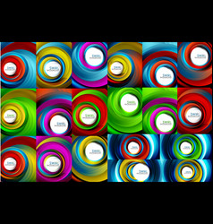 Swirling spiral background set colorful stripes vector