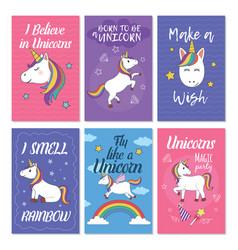 unicorn greeting card set vector image