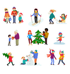 winter holiday cartoon family characters vector image vector image
