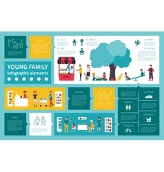 Young Family infographic flat vector