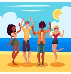 Young people dancing on the beach at a seaside vector image