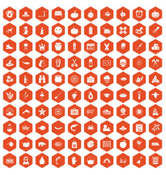 100 autumn holidays icons hexagon orange vector image vector image