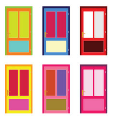 door in colorful design set on white vector image vector image