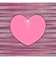Heart Shape Design with Knitted Pattern vector image