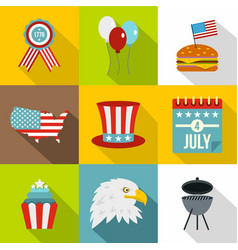 independence day icon set flat style vector image vector image