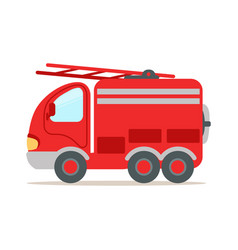 red fire truck fire emergency colorful cartoon vector image