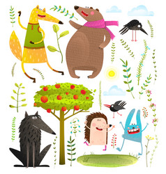 wild funny forest objects and animals set vector image vector image
