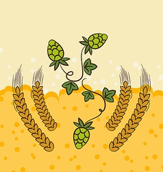 Beer background with hop leaves and wheats vector image vector image