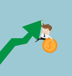 businessman hanging on growth arrow graph with vector image vector image
