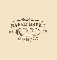 vintage baked bread logo retro hipster vector image vector image
