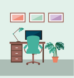 workplace concept work desk equipped with lamp vector image